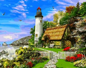 Дом возле маяка - Раскраска по номерам