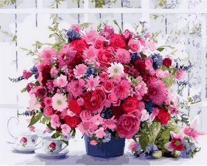 Розовые хризантемы ( в раме ) - Раскраска по цифрам