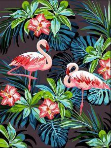 Фламинго в цветах - Раскраска по цифрам