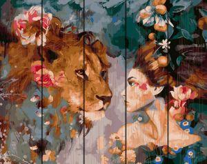 Картина по номерам на дереве Девушка и лев Rainbow Art