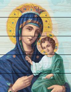 Картина по номерам на дереве Иверская божья матерь Rainbow Art