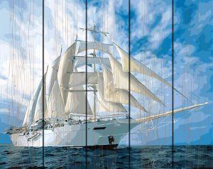 Белые паруса - картина по номерам по дереву Rainbow Art