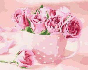 Чайные розы. Без коробки - Раскраска по цифрам