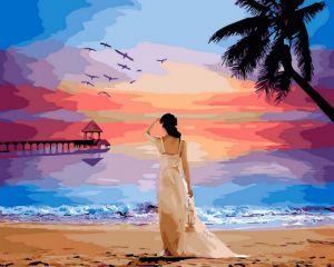 Тропический рассвет - Картина раскраска Brushme