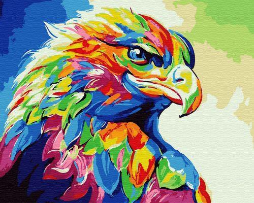 Радужный орёл - Картина раскраска