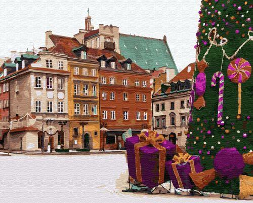 Новогодняя Варшава - Картина раскраска
