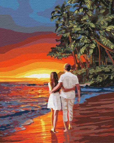 Романтика на побережье - Раскраска по номерам