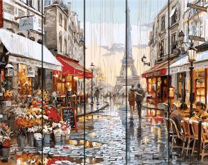 Париж после дождя - картина по номерам на дереве