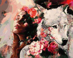 Белая волчица - Картина раскраска