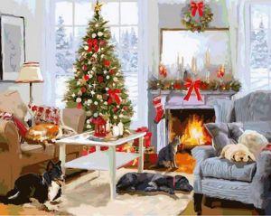 Купить раскраску по номерам VP998 Рождественское утро у камина - Раскраска по цифрам фото