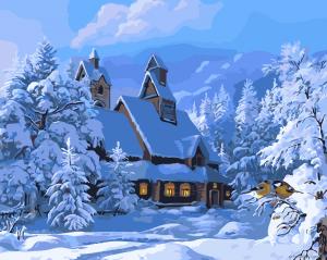 Зимний пейзаж - Роспись по номерам
