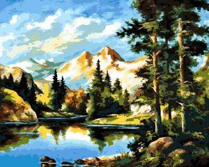 Горный пейзаж - Картина раскраска
