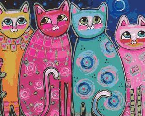 Яркие коты - Картина раскраска