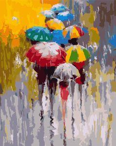 Яркие зонтики - Картина раскраска