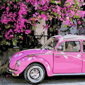 Розовое авто. Раскраска без коробки