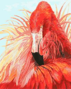 Яркий фламинго - Картина раскраска