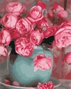 Розы в вазе - Картина раскраска