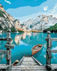 Горное озеро - Картина раскраска