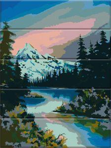 Горная река - Картина по цифрам (деревянная основа)