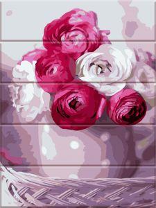 Букет роз - Картина-раскраска по дереву
