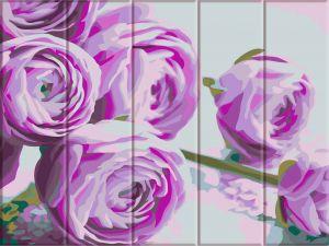 Сиреневые цветы - Картина раскраска по дереву