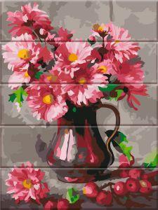 Хризантемы - Картина по номерам по дереву