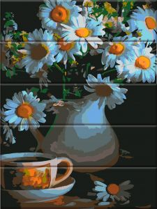 Ромашки в вазе - Картина по номерам по дереву