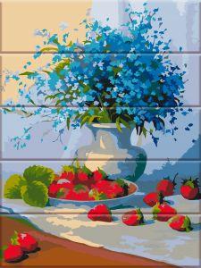 Цветы и земляника - Роспись по номерам по дереву