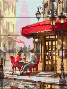 Уличное кафе - Картина по цифрам по дереву