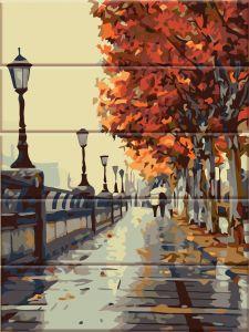Осенняя набережная - Картина по номерам по дереву