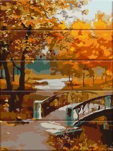 Осенний парк - Раскраска по номерам по дереву