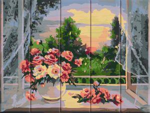 Цветы на подоконнике - Раскраска по номерам по дереву