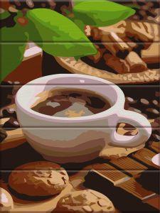 Сладости к кофе - Картина по цифрам (деревянная основа)