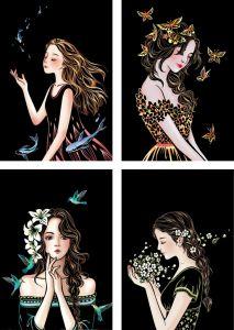 "Скретч-набор из 4-х картин ""Beautiful Girls"""