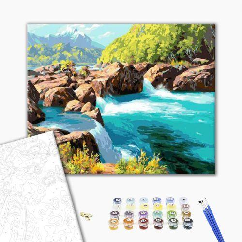 Горная река - Картина-раскраска