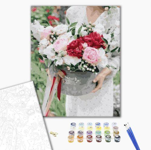 Цветы в подарок - Картина раскраска