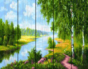 Березки у реки. Картина- раскраска по дереву