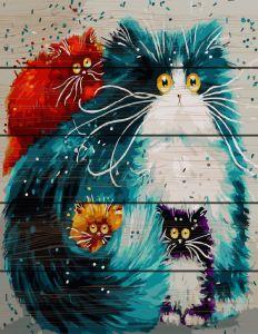 Цветные коты. Картина по номерам по дереву