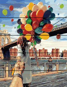 Следуй за мной Бруклинский мост. Картина по дереву