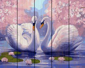 Пара лебедей. Картина по номерам на дереве