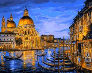Причал ночной Венеции - Картина раскраска