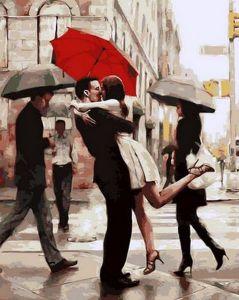 Любовь под алым зонтом - Картина раскраска