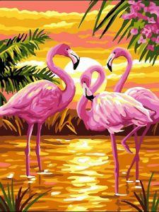 Фламинго на закате - Роспись по номерам