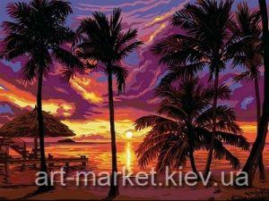 Закат в тропиках - Роспись по номерам