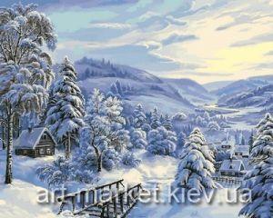 Заснеженная деревушка - Картина раскраска