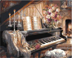 Музыкальный вечер у камина - Картина по цифрам (в раме )