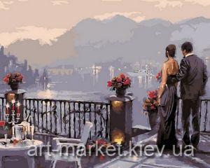 Ужин при свечах - Картина раскраска