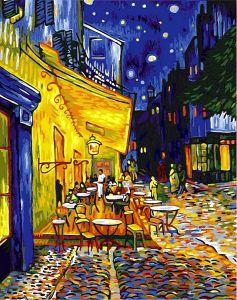 Купить раскраску по номерам VP504 Ночная терраса кафе худ Ван Гог фото