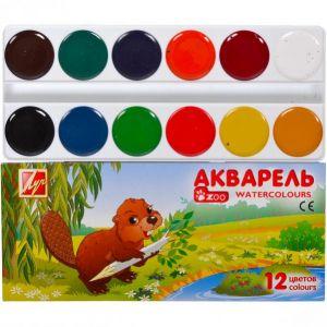 Акварель «Мини» 12 цветов картон «Луч»