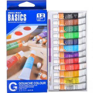 Краски 6 мл BASICS, 12 цветов «Gouache» EG1206C-2